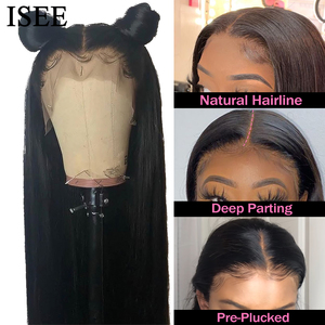 Image 4 - Straight HD Transparent Lace Front Wigs For Women ISEE HAIR Lace Closure Wig Malaysian Lace Frontal Wig Straight Human Hair Wigs