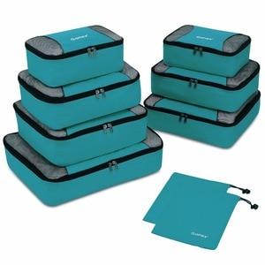 Image 1 - Gonex 9 יח\סט נסיעות אחסון תיק מזוודה ארגונית תליית Ziplock מלתחת בגדי דחיסת אריזה קוביות