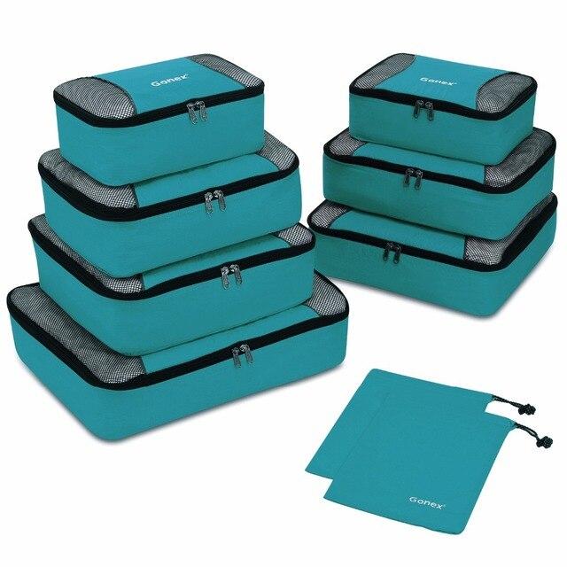Gonex 9 יח\סט נסיעות אחסון תיק מזוודה ארגונית תליית Ziplock מלתחת בגדי דחיסת אריזה קוביות