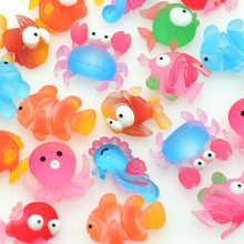 20PCS Mixed Resin Marine Fish Sea Horse Octopus Cabochons Scrapbooking Crafting Miniatures Hair Clips Decoration Parts
