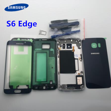 Чехол с полным корпусом, задняя крышка + стеклянный объектив переднего экрана + средняя рамка для Samsung Galaxy S6 Edge G925 G925F, полные детали