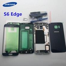 Funda completa para Samsung Galaxy S6 Edge G925 G925F, cristal de pantalla frontal y Marco medio, piezas completas