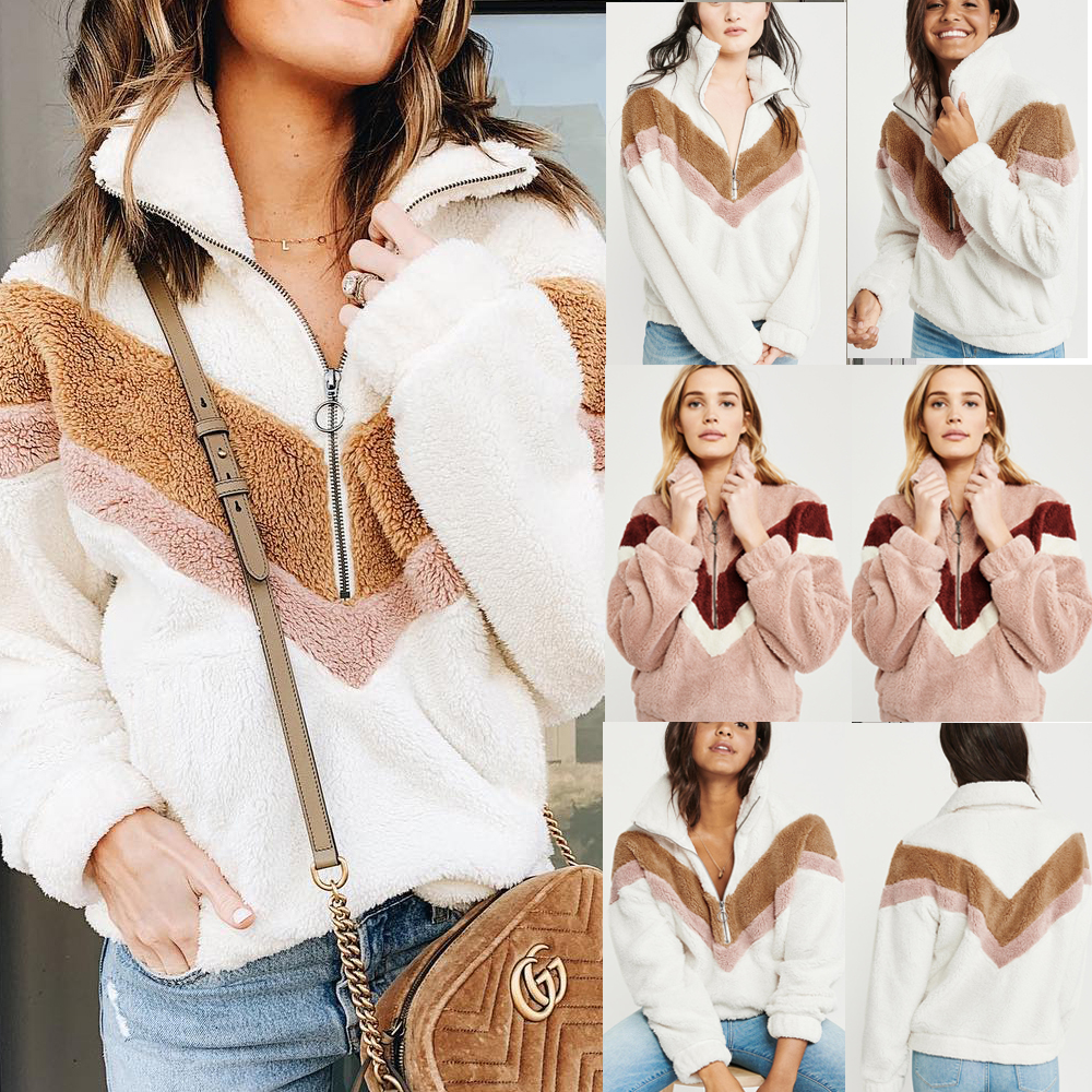 H7ea46b9966104ae9ad793d42eb935a4ea New Style Women Warm Teddy Bear Fleece Pullover Coat Zip Outwear Overcoat Long Sleeve Jumper Top Pullover Winter Warm Soft Coat