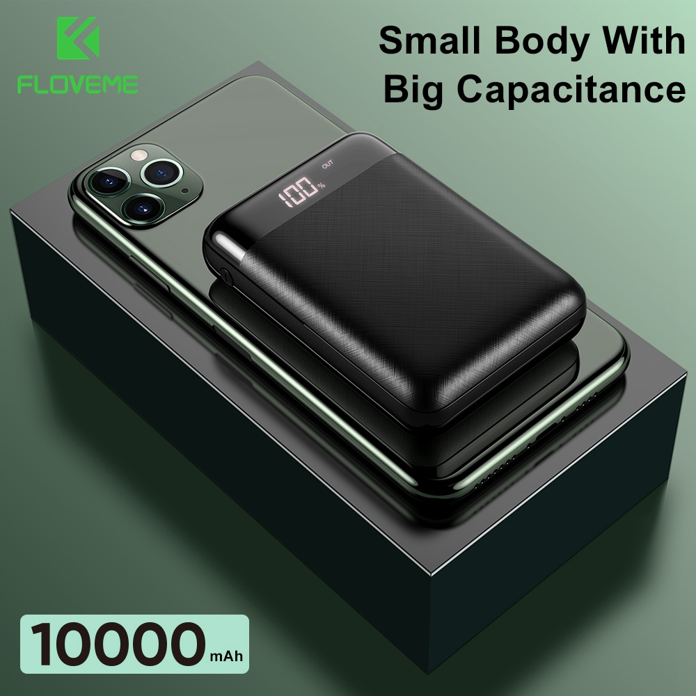 Floveme Power Bank Voor Xiaomi Mini Power Bank 10000 Mah Draagbare Externe Telefoon Batterij Lader Voor Iphone Huawei Led Powerbank title=
