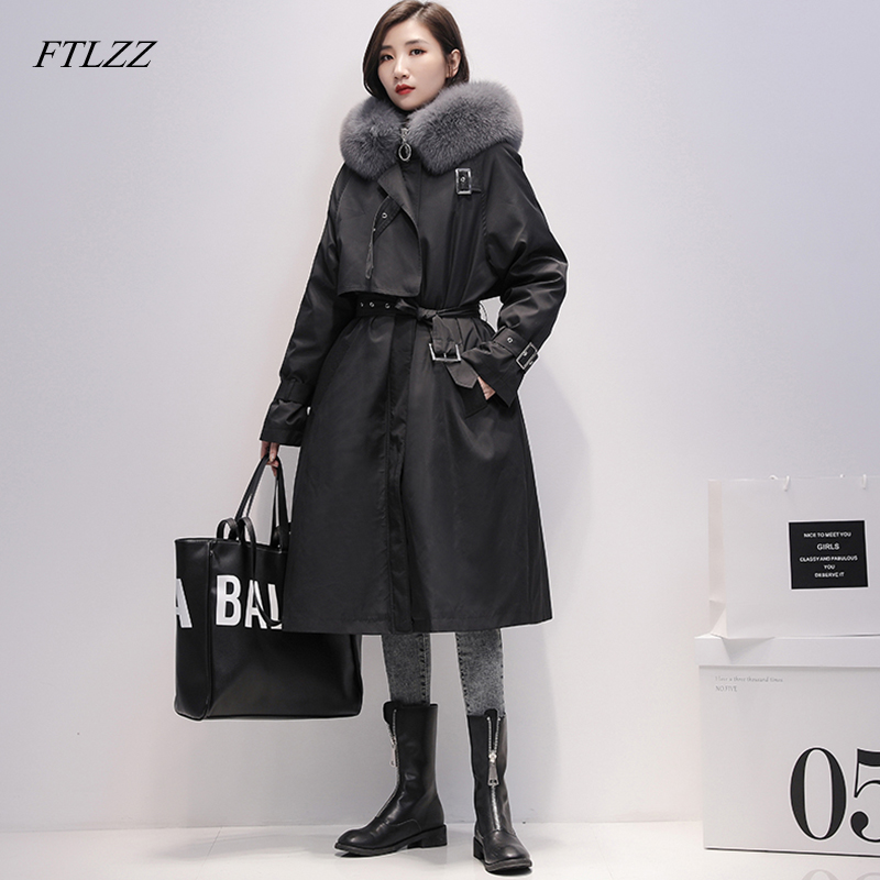 FTLZZ Large Natural Fox Fur Hooded Parkas Winter Long Jacket Women 90% White Duck Down Thick Coats Vintage Loose Snow Overcoat