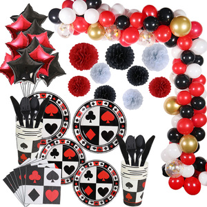 WEIGAO Poker Theme Party Supplies Paper Plate Cup Napkin Black Red Balloons Casino Party Decoration Las Vegas Birthday Supplies