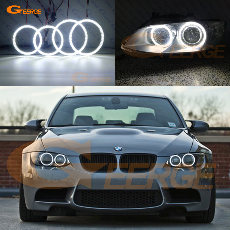 For BMW 3 Series E90 E91 E92 E93 M3 xenon headlight Excellent Ultra bright smd led Angel Eyes DRL Car styling image