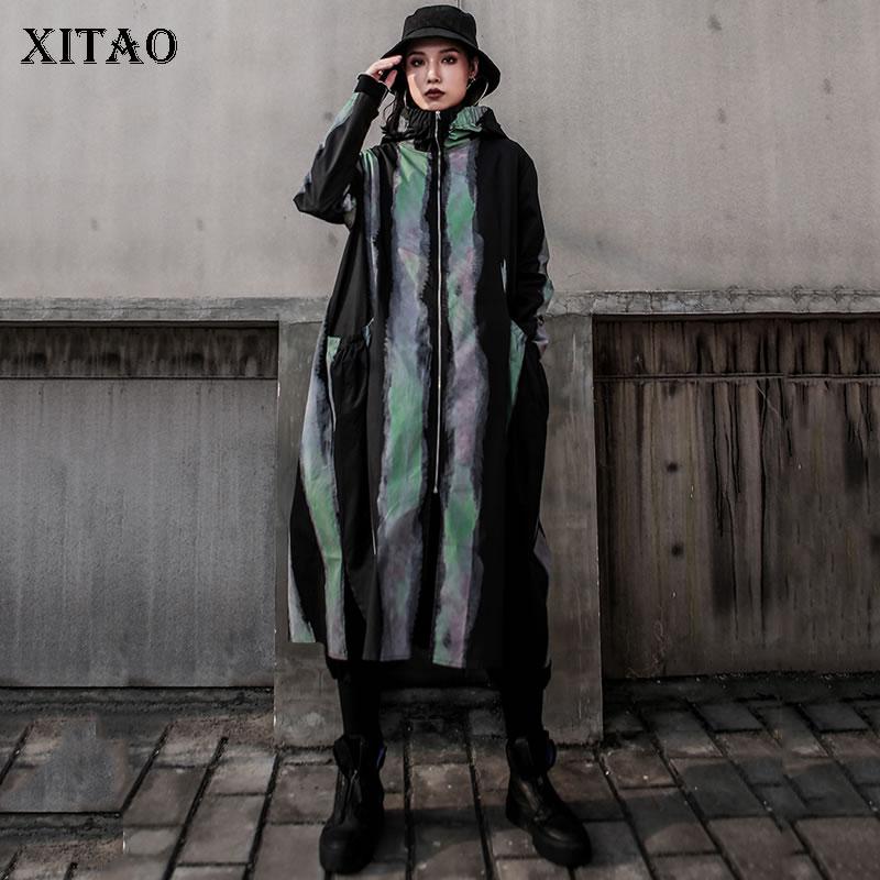 XITAO Tide Stripe Print Hat Pocket Zipper Trench Coat Long Sleeve Fashion Loose Casual Plus Size Top Women 2019 Autumn WQR1939