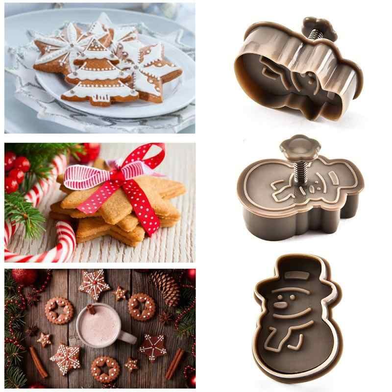 แสตมป์บิสกิตแม่พิมพ์ 3D Cookie Plunger CUTTER DIY ต้นคริสต์มาสเค้กเบเกอรี่ Mold Christmas Cookie Cutters 2020 Xmas คุกกี้เครื่องมือ