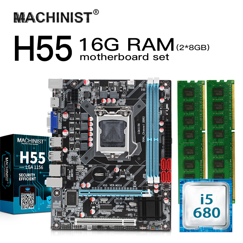 H55 LGA 1156 Motherboard Set Kit With Intel Core I5-680 3.6GHZ CPU 16G(2*8GB) 1600MHz DDR3 PC Desktop Memory RAM Mico-ATX