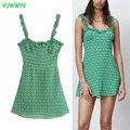 Za 2021 Vintage Green Floral Print Kurze Frau Kleid Sommer Chic Rüschen Straps Kleid Frauen Elegante Strand Urlaub Mini Vestidos