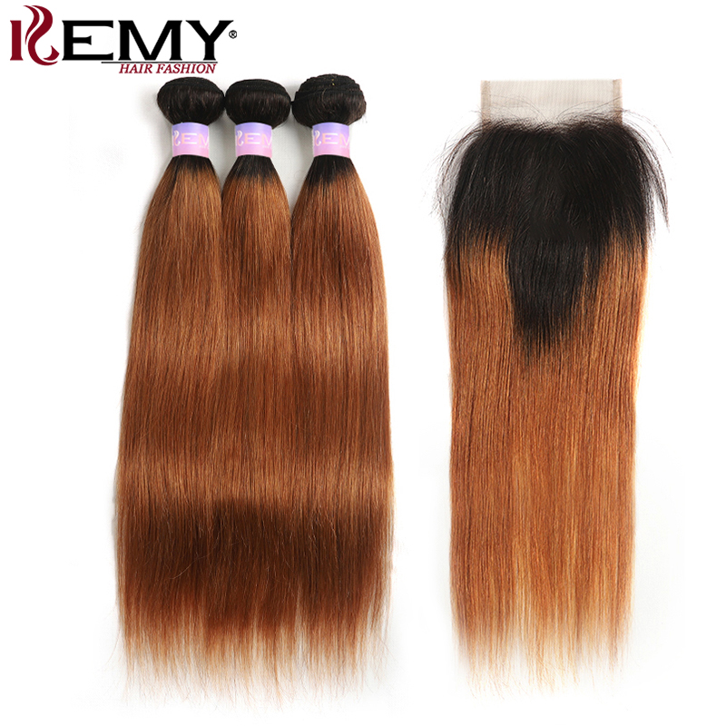 Ombre Brown Brazilian Straight Human Hair Bundles With Closure 4x4 KEMY HAIR T1B/30 Two Tone 3 Bundles With Closure Non-Remy