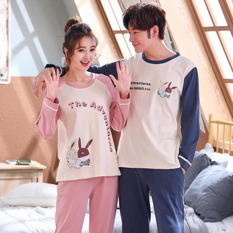 Wontive Spring  Men's Cotton Pajamas Letter Men Pyjamas Suit Couple Pajamas Long Sleeve Pijama For Male Plus Size Sleep Clothing