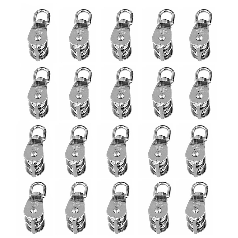 20Pcs Stainless Steel Wire Rope Crane Pulley Block M15 Lifting Crane Swivel Hook Single Pulley Block Hanging Wire Towing Wheel