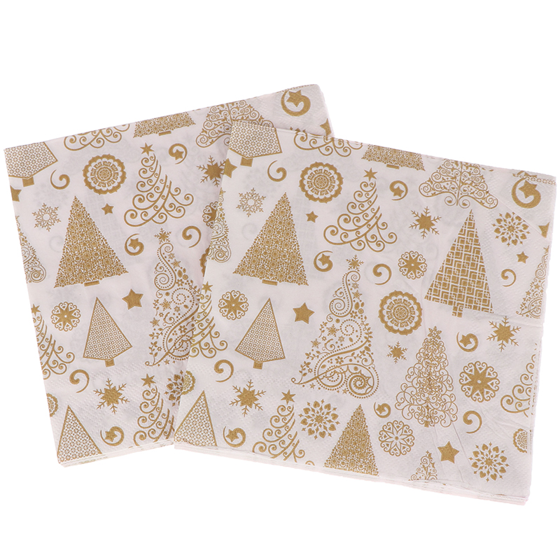 20PCS/set Square Christmas Paper Napkin For Home Xmas Table Decoration Festival Napkins Cloth Pocket Handkerchief
