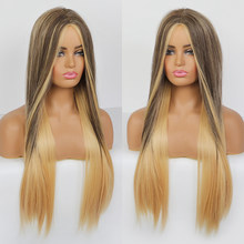 BLONDE UNICORN long straight synthetic wig ombre blonde color with middle part style for women girl daily party cosplay(China)