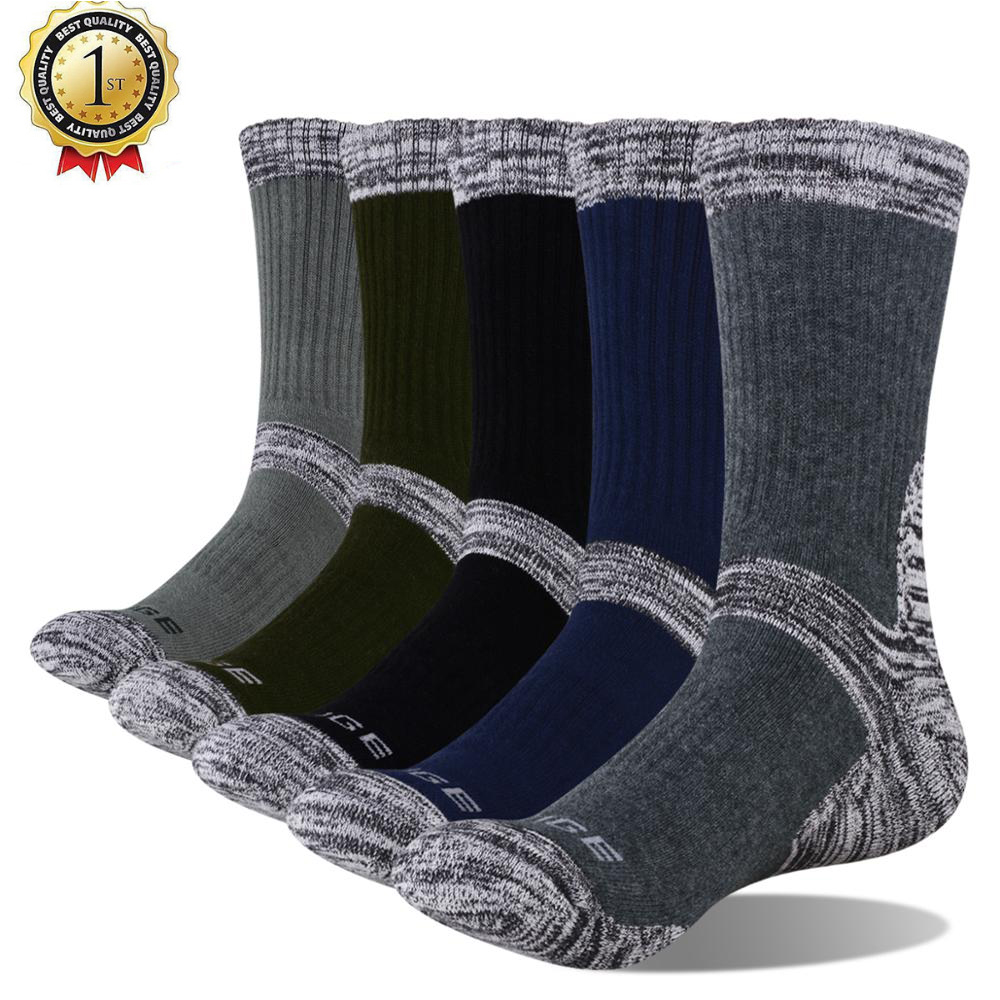 YUEDGE Men's Wicking Cushion Cotton Socks Sports Hiking Socks (5 Pair/Packs)