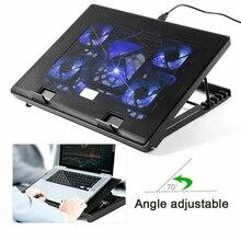 """Дополнительный usb-вентилятор для ноутбука 1"""" 15,6"""" 1"""" с 5 вентиляторами 2 usb-порта скользящая подставка вентилятор охлаждения ноутбука с подсветкой"""