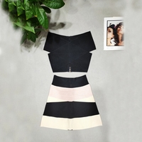 LEGER BABE New Design Off Shoulder Women Bandage Crop Top Black White Short Tops Sexy Casual Party Night Out Clubwear