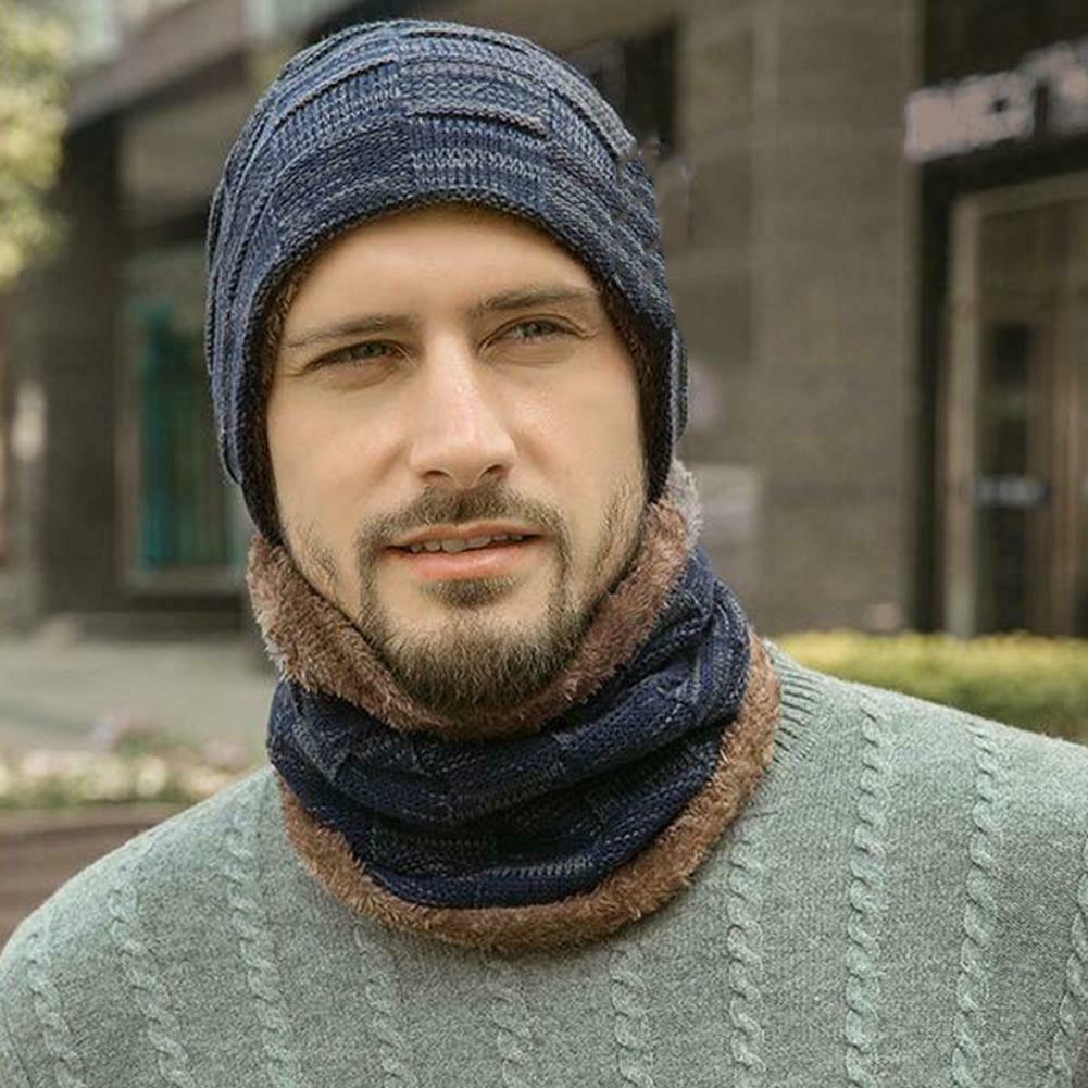 2019 New Plaid Winter Women Men Knit Warm Ski Hat Unisex Crochet Slouch Cap Neckerchief Beanie Handsome Charming Men Hats Gift