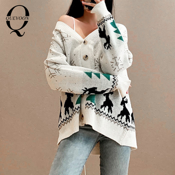 QUEVOON Snow Print Knitting Cardigan Swaters Winter Christmas Party Button Front Solid V-Neck Women Casual Autumn Sweater 2020