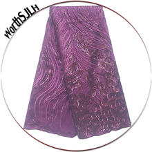 3D Sequins Flower Embroidery African Lace Fabric Magenta Green Swiss French Net Material For Women