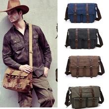 Men Business Messenger Bags For Men Shoulder Bag Canvas Crossbody Pack Retro Casual Office Travel Bag