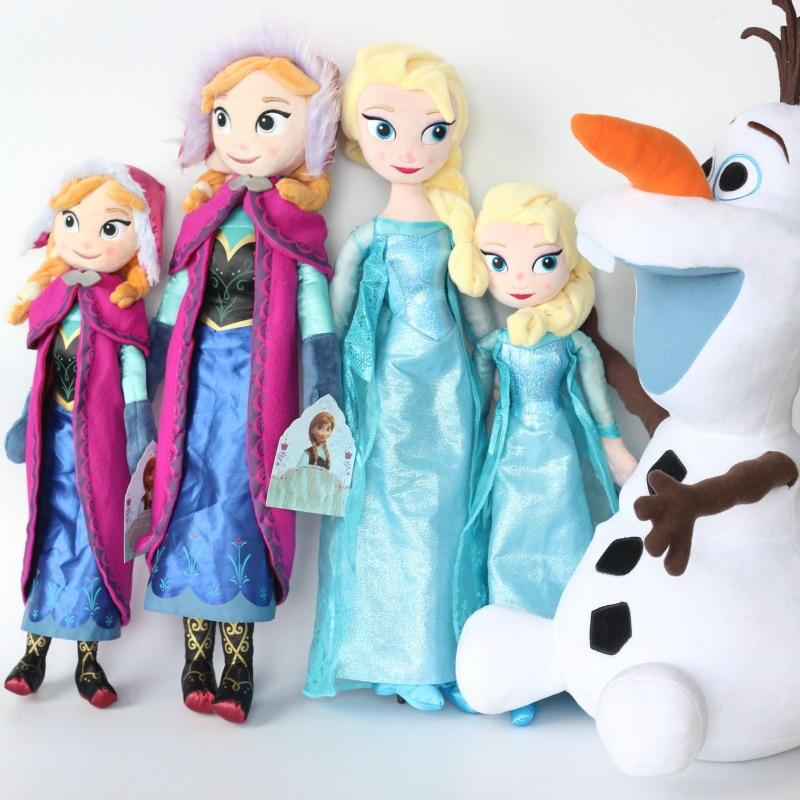Juguetes de peluche de 50 CM Frozen de Anna Elsa para niñas juguetes lindos de la princesa de la nieve de la princesa Anna Elsa muñeca niña regalos de cumpleaños Disney Frozen peine princesa Anna Elsa figura de acción antiestático cepillos para el cuidado del cabello niñas vestido de cumpleaños regalo de los niños