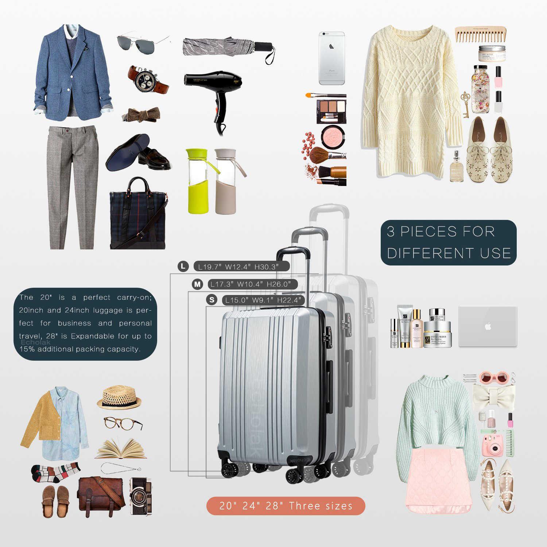 3 sztuka zestaw bagażu z TSA blokada tarczy 20in24in28in rozbudowy walizka PC + ABS Hardside walizka wyciszenie koła toczenia bagażu