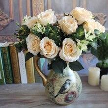 Milan Realistic Bouquet 11 Heads Wedding Rose Artificial Silk Flower Bridal