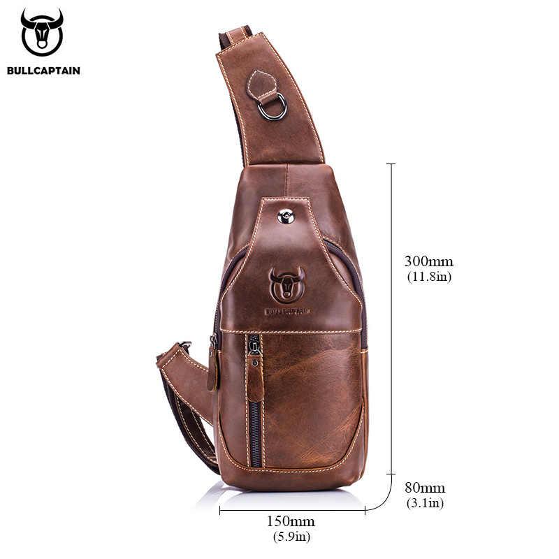 Bullcaptain sacos de mensageiro de couro masculino saco casual para homens saco de peito marca designer multi-função fone de ouvido jack pacote de peito