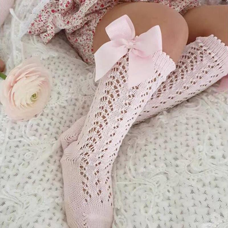 Cute Girls Knee High Socks Bows Cotton Breathable Soft Children Socks Hollow Out Non-slip Newborn Infant Long Socks 0-3Years 1