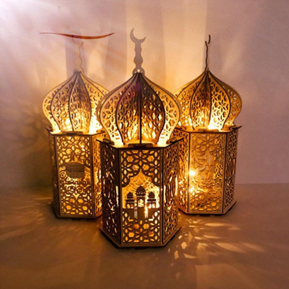Eid Mubarak Decoration Ramadan Ornament Muslim Wooden Plaque Mosque Islam Wooden Delicate Creative