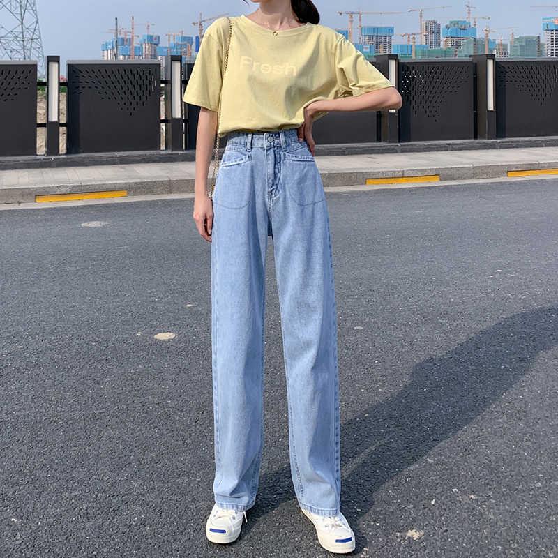 Pantalones Vaqueros Azul Claro Sueltos De Cintura Alta Para Mujer Pantalones De Mezclilla Recta Pantalones Coreanos Para Mujer Pantalones Vaqueros Para Mujer Verano 2020 Pantalones Vaqueros Resistentes Pantalones Vaqueros Aliexpress