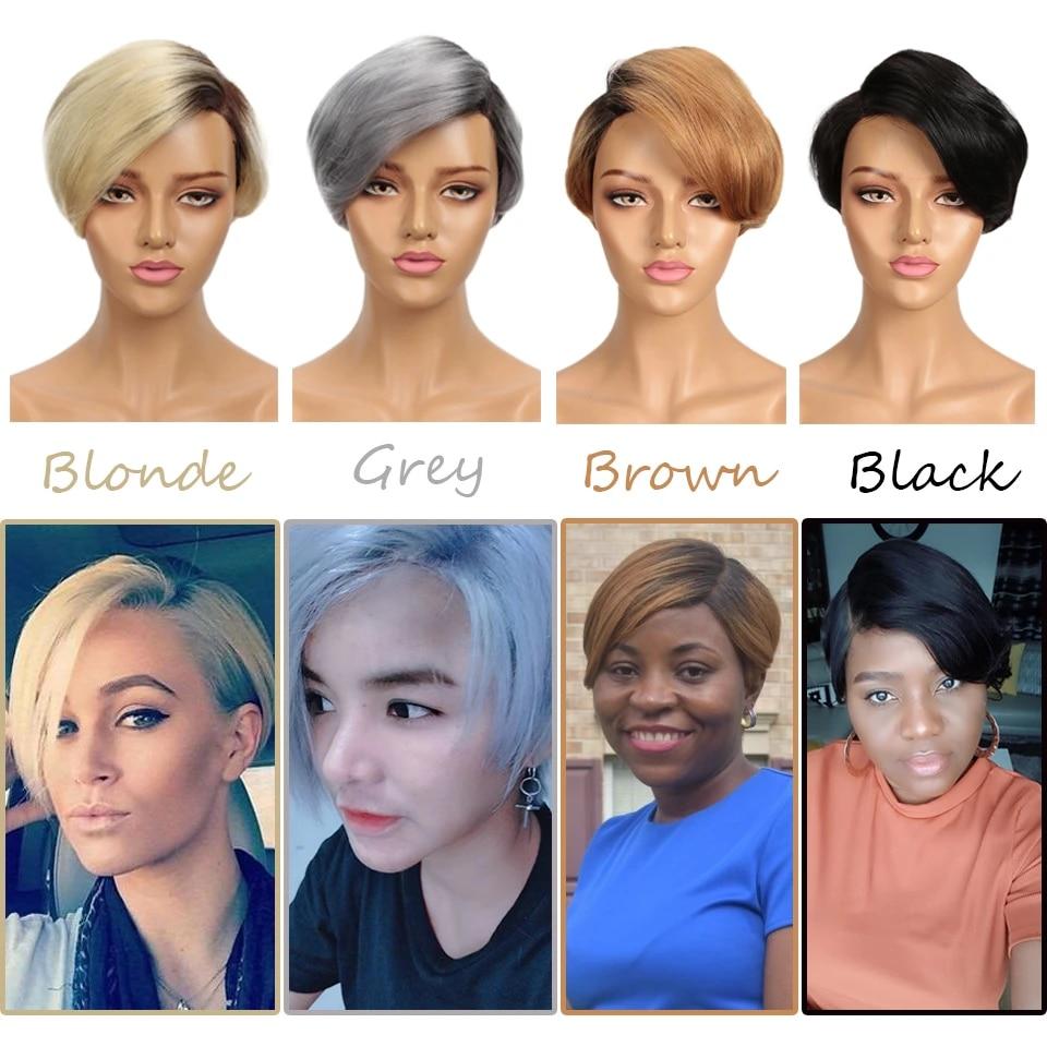 Sleek Short Human Hair Wigs 100 Remy Brazilian Hair Wigs 613 Blonde Lace Wigs L Part Pixie Cut Wig 8 Inch Short Wigs 150 Wigs Part Lace Wigs Aliexpress