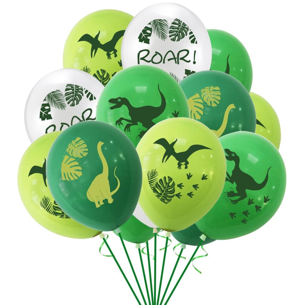 10Pcs 12 polegada Confetti Decorações da Festa de Balões De Látex Selva Selvagem Animal do Dinossauro Balão De Aniversário Do Bebê Chuveiro Bolas Globos de Ar