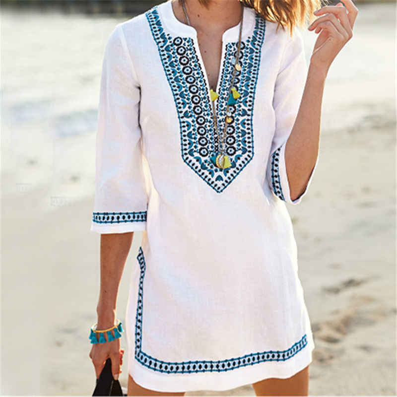 2019 Wanita Beachwear Cover-Up Musim Panas Vintage Bordir Pantai Gaun Putih Kapas Tunik Baju Renang Cover Up Dress
