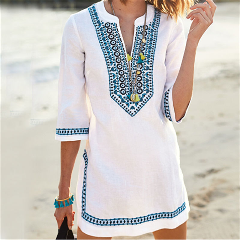2019 Women Beachwear Cover-ups Summer Vintage Embroidery Beach Dress White Cotton Tunic Swimsuit Cover Up Sarong Dress