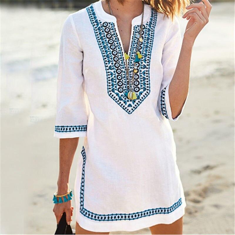 2019 maillots de bain femme couvertures été Vintage broderie robe de plage blanc coton tunique maillot de bain couvrir robe de Sarong