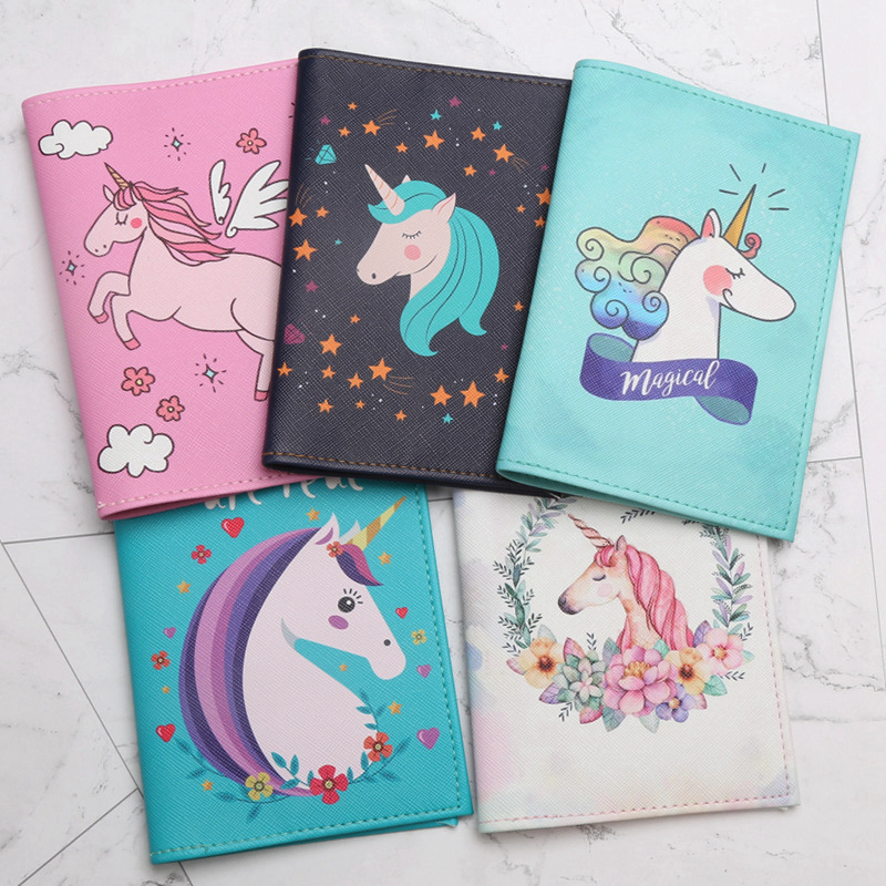 Cartoon Animal Unicorn Passport Cover Travel Accessories PU Leather Id Address Holder Portable Boarding Men Women Wallet Bag