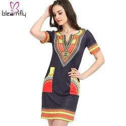 2018 vestidos para as mulheres Africano Dashiki Vestido Robe Ocasional Do Vintage Impressão Africano Indiano Das Senhoras Vestidos Plus Size Roupas Femininas
