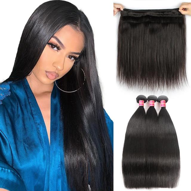$ US $51.10 Nadula Hair Indian Straight Hair 3/4Bundles Indian Hair Straight 8-30inch 100% Remy Human Hair Weave Bundles Machine Double Weft