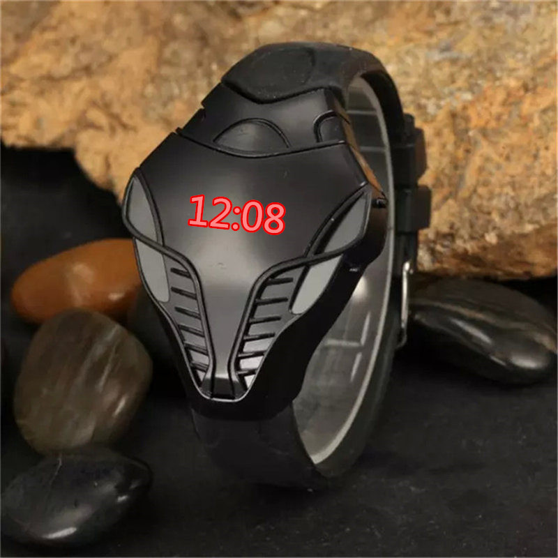 Cool Children 's Watch Snake Future Warrior Watches Led Kids Clock Electronic Digital Date Student Sports Boy Girl Watch Men Box