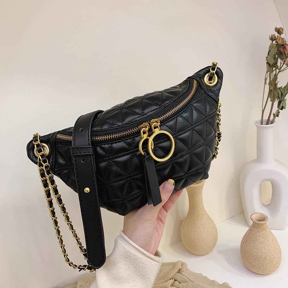 2019 Newest Hot Waist Bag Women Waist Packs Belt Bag Luxury Leather Chest Handbag Black Color New Fashion Quality