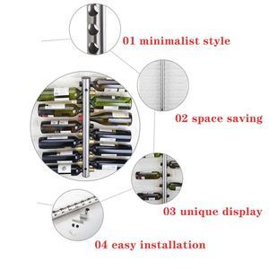Image 5 - クリエイティブハンギング 8 12 ボトルワインラックステンレス鋼壁は赤ワインホルダー装飾ディスプレイ垂直金属ワイン棚