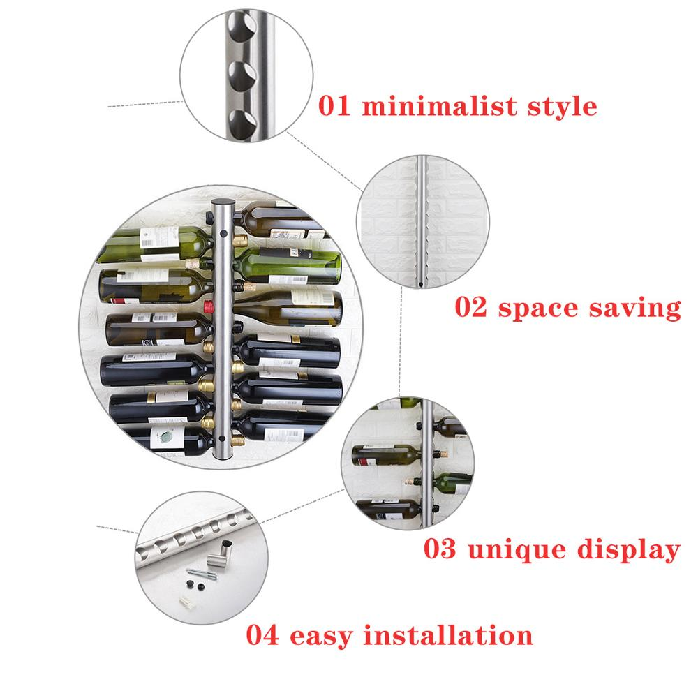 Image 5 - Creative Hanging 8 12 Bottle Wine Rack Stainless Steel Wall Mounted Red Wine Holder Decoration Display Vertical Metal Wine ShelfWine Racks   -