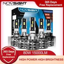 NOVSIGHT Car Headlight Bulbs Led H7 H4 H1 H3 H11 H13 9005 9006 9007 Mini Size Decoder Car Light 80W 15000LM 6500K Auto Headlamp