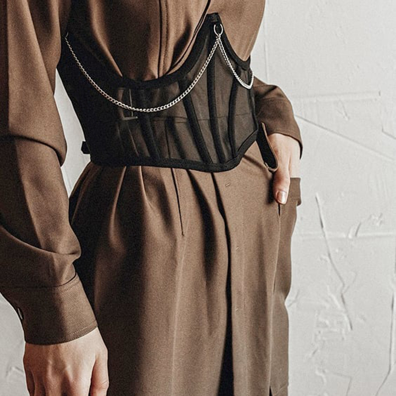 WannaThis Belts for Women Lace up Wide Belt  Mesh Elegant Women Metal Chain Straps Female Stretchy Wide Belt Ladies Asymmetry