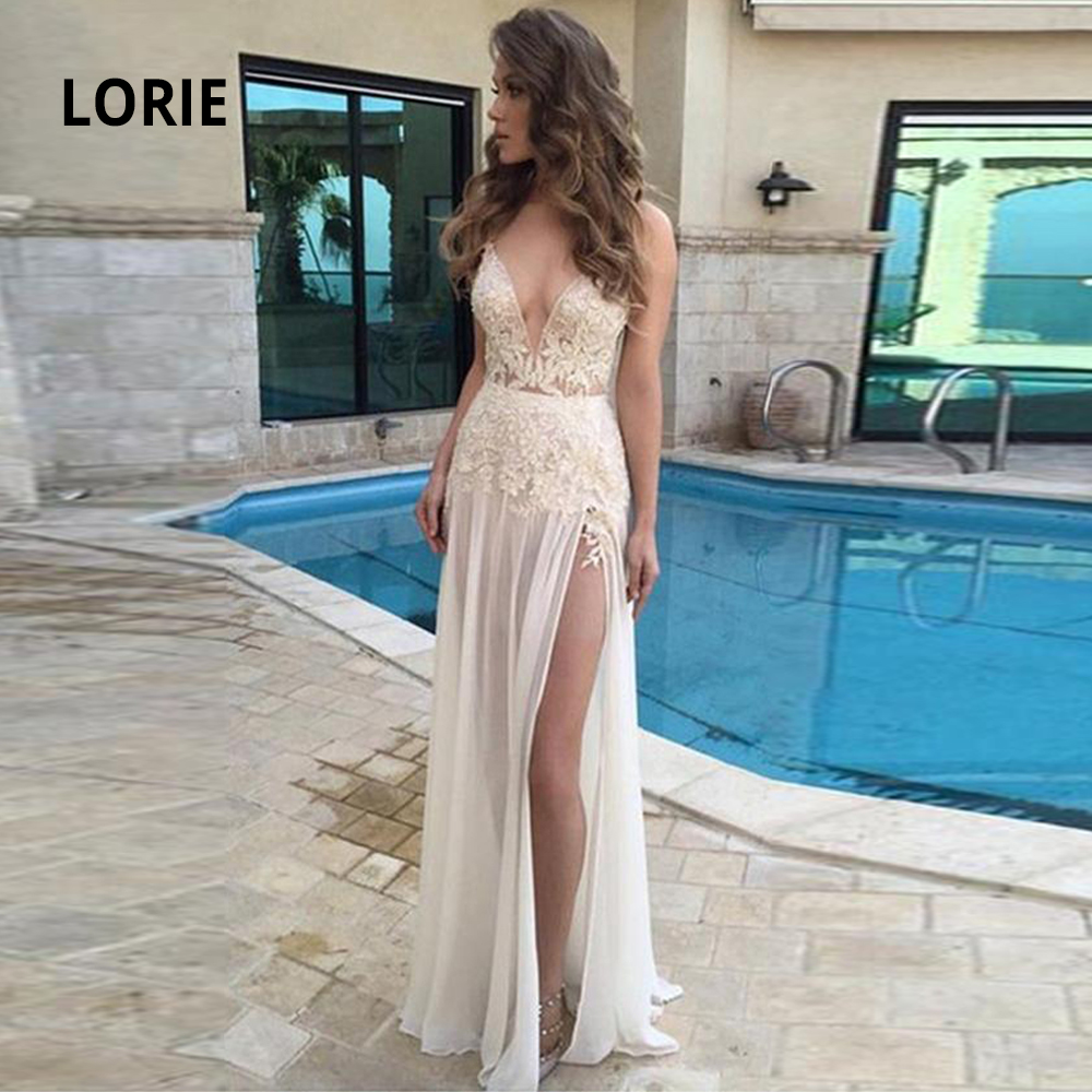 LORIE New Elegant Lace Appliqued Beach Wedding Dresses Sexy V-neck Sleeveless Open Back Chiffon Boho Bridal Gowns Cheap Simple
