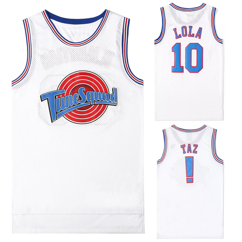 Movie Cosplay Costumes <font><b>Space</b></font>-<font><b>Jam</b></font> <font><b>Tune</b></font>-<font><b>Squad</b></font> #1 BUGS #10 LOLA Bunny Basketball Team <font><b>Jersey</b></font> Stitched Number Tops Sports Uniform image
